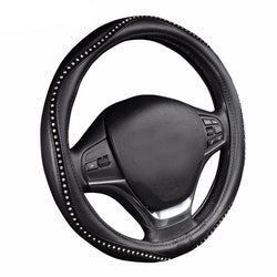 BestBuySale Steering Wheel Covers Black Pu Leather Lychee Pattern with Luxury Crystal Rhinestone Steering Wheel Cover