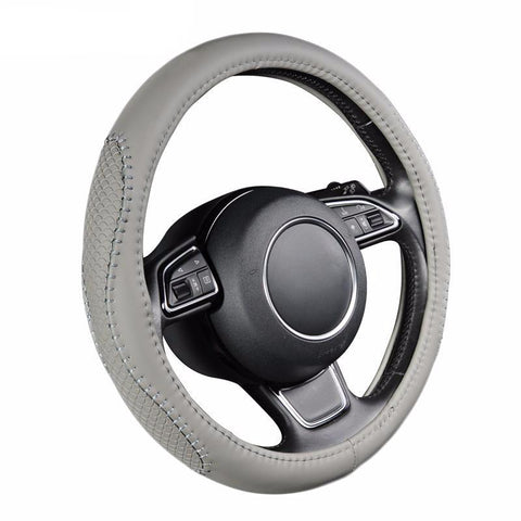 BestOnlineGray PU Leather Steering Wheel Cover