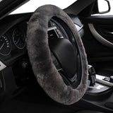 "BestOnlineWool Car Steering Wheel Cover Universal Fit - 14""-15"" inch - Black,Gray"