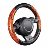 BestBuySalePu Leather Black Wood Grain Car Steering Wheel Cover