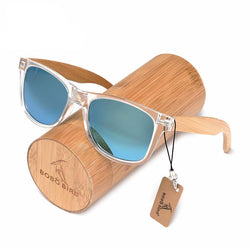 WoodenOnlineUSA Handmade Polarized Sunglasses With Transparent Plastic Frame Colorful Lens And Bamboo Legs