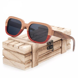 BestOnlineHandmade Polarized Wood Sunglasses in Wood Gift Box - Grey,Brown