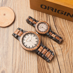 BestBuySale Wooden Watch Couple's Zebra Ebony Wooden Watches in Wooden Gift Box
