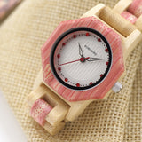 BestBuySale Wooden Watch Women's Octagon Natural Bamboo Watch in Wooden Box - Green,Pink,White