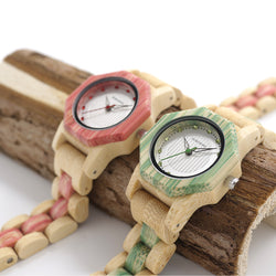 BestBuySaleWomen's Octagon Natural Bamboo Watch in Wooden Box - Green,Pink,White