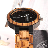 BestBuySale Wooden Watch Fashion Two-tone Wooden Quartz Watch With Date Display in Gift Box - Brown,Black