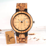 BestBuySaleFashion Two-tone Wooden Quartz Watch With Date Display in Gift Box - Brown,Black
