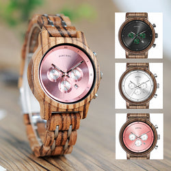 BestOnlineFashion Women's Wood & Steel Watches in Wooden Gift Box Case - Silver,Black,Pink
