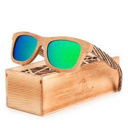 BestOnlinePolarized Square Wood Frame Sunglasses In Wooden Gift Box-Green,Blue,Yellow,Gray
