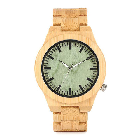 BestOnlineFashion Bamboo Watch With Green Dial in Gift Box
