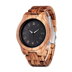 BestBuySaleFashion Roman Numerals Zebra Wooden Watch in Gift Box