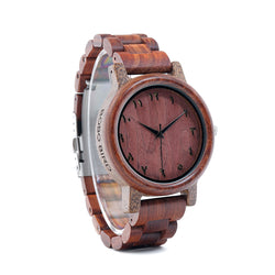BestOnlineRedwood Band Arabic Numerals Wooden Watch in Wooden Gift Box