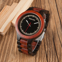 BestOnlineMen's Two Tone Rosewood/Pinewood Wooden Watches in Wooden Gift Box