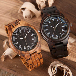 BestBuySaleMen's Ebony/Zebra Roman Numeral Wooden Watch in Wooden Gift Box