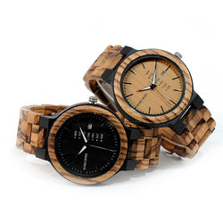 BestBuySale Wooden Watch Handmade Zebra Wood Watch for Men with Week Display