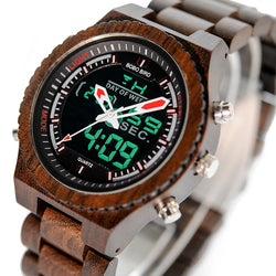 BestBuySaleLED Digital Wood Watch for Men