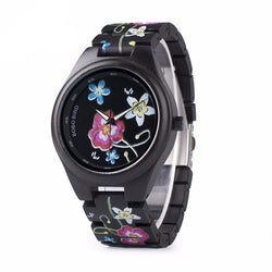 BestBuySaleFashion Colorful Flower Print Wood Watch For Women in Wood Gift Case- Daisy,Red Flower