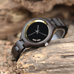 BestBuySale Wooden Watch Women's Elegant Simplistic Wooden Watch With Wood Gift Box - Pine Wood,Black Wood