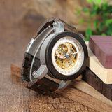 BestBuySale Wooden Watch Wood & Steel Mechanical Skeleton Wooden Watch in Wooden Gift Box - Red,Black