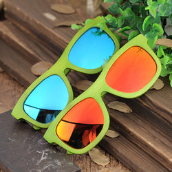 BestOnlineGreen Bamboo Frame Wooden Sunglasses in Wood Box - Blue,Yellow Lenses