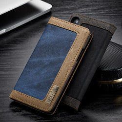 BestBuySale Cases Luxury Magnetic Denim Canvas Wallet Case for iPhone X Cover with Card Holder - Black,Blue,Brown,Pink