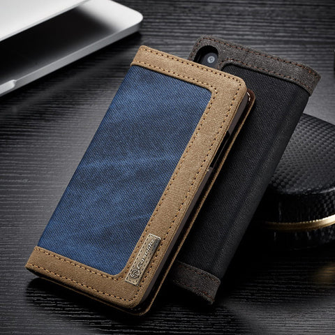 info for 6591d bb064 Luxury Magnetic Denim Canvas Wallet Case for iPhone X Cover with Card