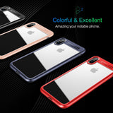 BestBuySale Cases Slim Full Protective PC & TPU Silicone Cover Case for iPhone X - Blue,Black,Red,Pink