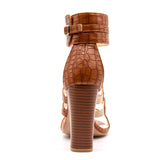 BestOnlineHigh Square Heels Women's Gladiator Sandal Shoes - Brown,White