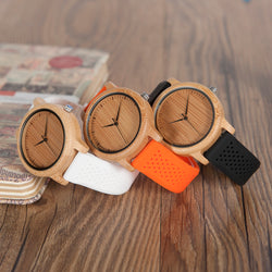BestOnlineWomen's Bamboo Watches With Colorful Silicone Straps - Black,Orange,Black