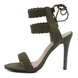 BestBuySale Heels Women Ankle Strap Fashion Summer High Heels Gladiator Sandals - Black,Blue,Green,Apricot