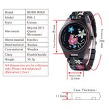 BestOnlineFashion Colorful Flower Print Wood Watch For Women in Wood Gift Case- Daisy,Red Flower