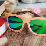 BestBuySalePolarized Square Wood Frame Sunglasses In Wooden Gift Box-Green,Blue,Yellow,Gray