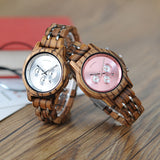 BestBuySale Wooden Watch Fashion Women's Wood & Steel Watches in Wooden Gift Box Case - Silver,Black,Pink