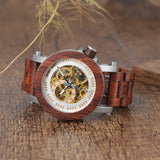BestOnlineWood & Steel Mechanical Skeleton Wooden Watch in Wooden Gift Box - Red,Black