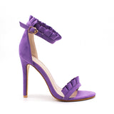 BestOnlineFashion Women's Ankle Strap High Thin Heels - Purple,Pink,Sliver,Winered