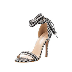 BestOnlineWomen's Cross-Tied Plaid High Sandal Heels - Black, Blue, Red