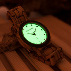 BestOnlineMen's Wood Watch with Luminous Dial Face