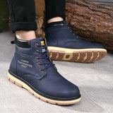 BestOnlineMen's High Quality PU Leather Winter/Autumn Boots -Black,Blue,Brown,Yellow
