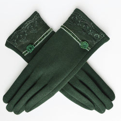 BestOnlineWomen's Embroidered Winter Gloves - Dark Coffee,Light Coffee,Green,Black,Purple,Wine Red