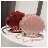BestOnlineWomen's Unique Shell Shape Pu Leather Clutch Bags - Black,Silver,Red,Pink