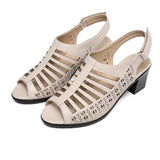 BestOnlineWomen's Fashion Peep Toe Pu Leather Gladiator Sandals - Beige,Black