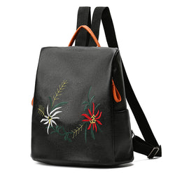BestBuySale Backpack Fashion Women's  Embroidered PU Leather Backpacks