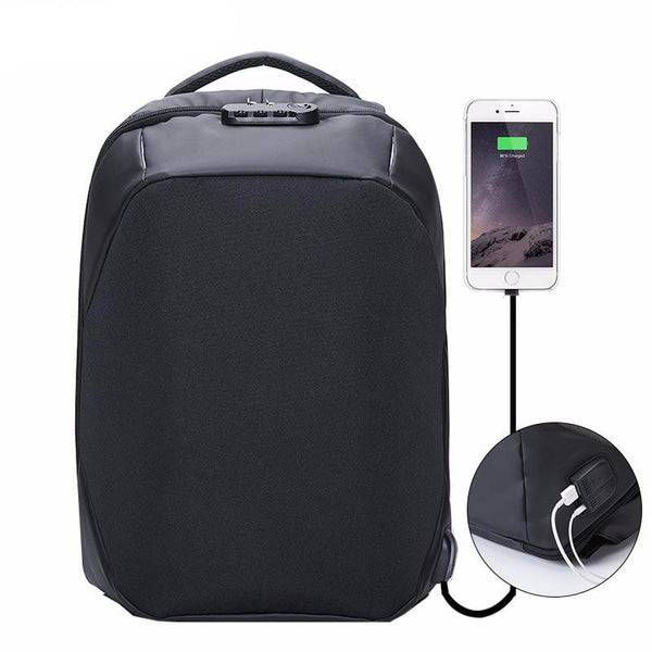 BestOnlineAnti-theft 15.6 inch Laptop Backpack With External USB Charge - Black,Gray