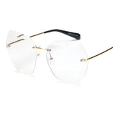 BestOnlineOversized Women's Fashion Rimless Square Sunglasses