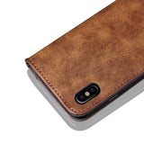 BestOnlineMagnetic Retro PU Leather Cover Case For iPhone X - Brown,Black,Blue,Red