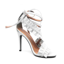 BestBuySaleWomen's Lace Up Ankle Strap Ruffle High Heels - White, Black