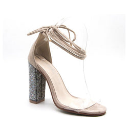 BestOnlineAnkle Strap Fashion Women's Square Heels - Beige,Gold
