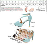 BestBuySale Heels Women's Fashion Summer Gladiator 10 cm High Heels Sandals - Beige,Black,Sky Blue,Pink,White