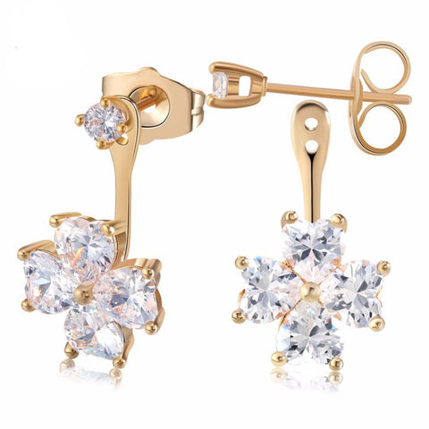 BestBuySale Earrings Women's Flower Crystal Stud Earring With Shiny Heart Shape Austrian Cubic Zirconia