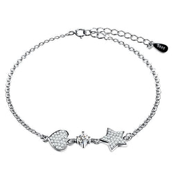 BestOnlineWomen's Casual Silver Color Bracelet with Heart & Star Pendant